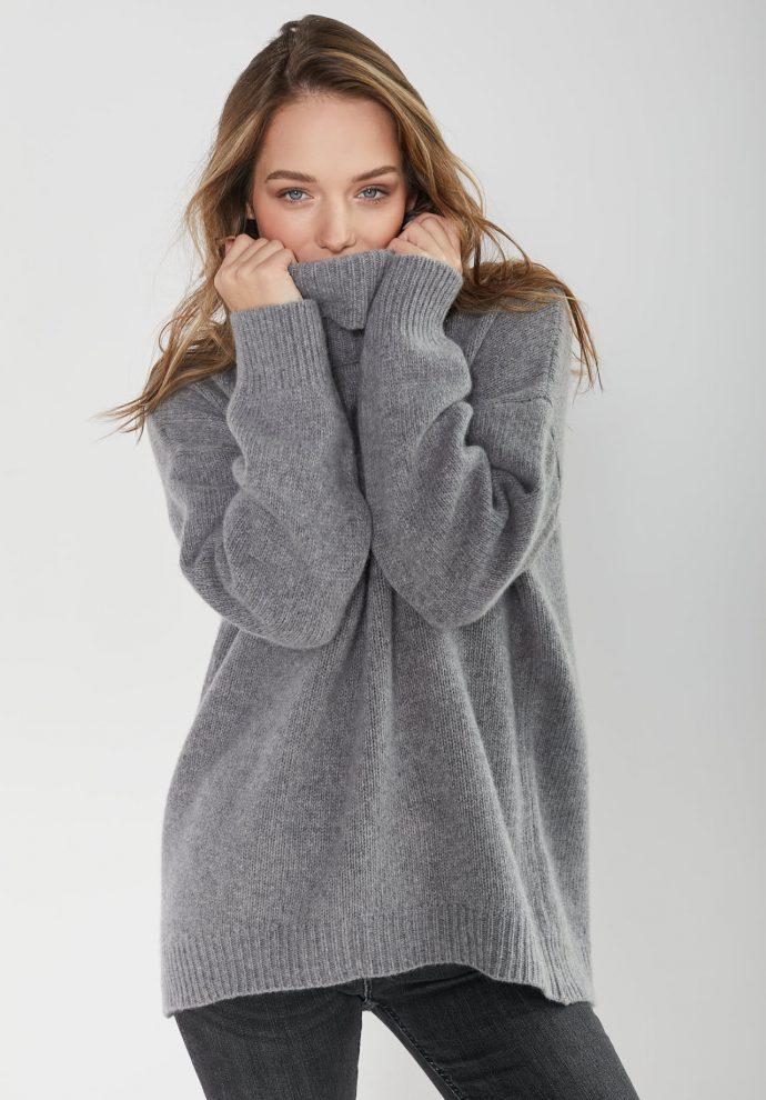 sweter z golfem f z wełny merynosa i kaszmiru Adele szary
