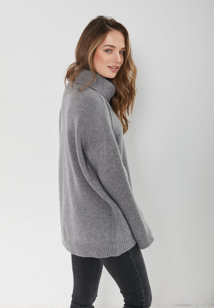 sweter z golfem f z wełny merynosa i kaszmiru Adele szary- zdjęcie 5