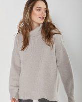 sweter z golfem f z wełny merynosa i kaszmiru Adele beżowy - zdjęcie 3