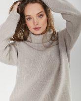 sweter z golfem f z wełny merynosa i kaszmiru Adele beżowy - zdjęcie 4
