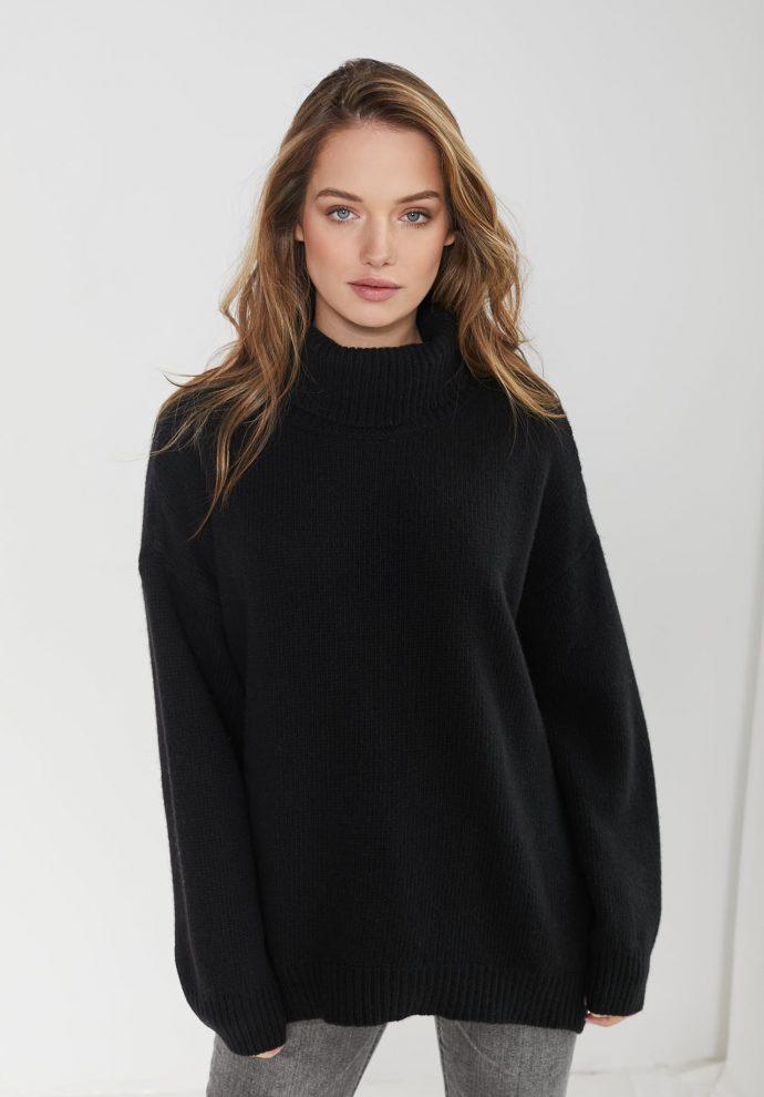 sweter z golfem f z wełny merynosa i kaszmiru Adele czarny
