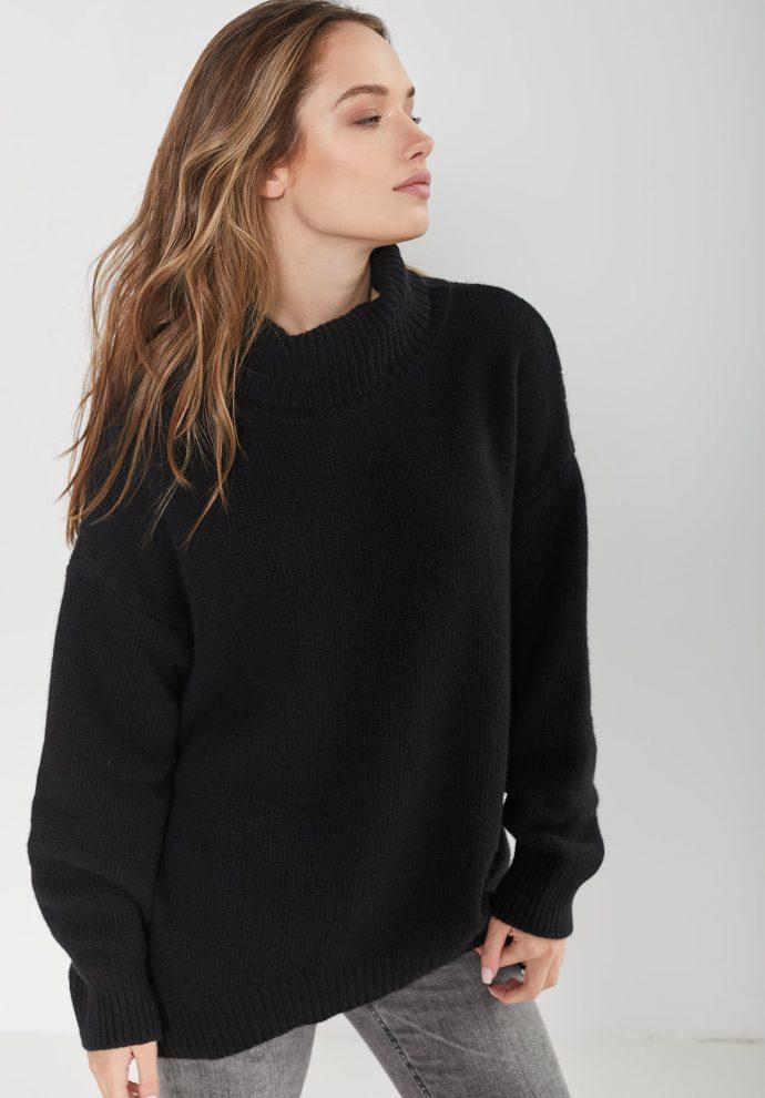 sweter z golfem f z wełny merynosa i kaszmiru Adele czarny- zdjęcie 2