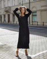 Sukienka z falbana Maggie czarna- zdjęcie 3