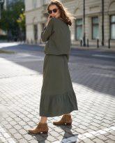Sukienka z falbana Maggie oliwkowa- zdjęcie 2