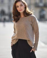 Sweter Sally z wełny merino i kaszmiru taupe