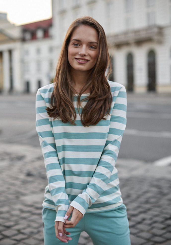 bluzka Emma pasy ecru miętowe