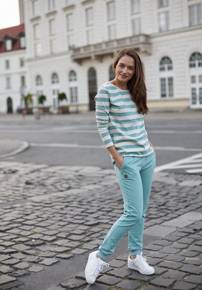 bluzka Emma pasy ecru miętowe- zdjęcie 2