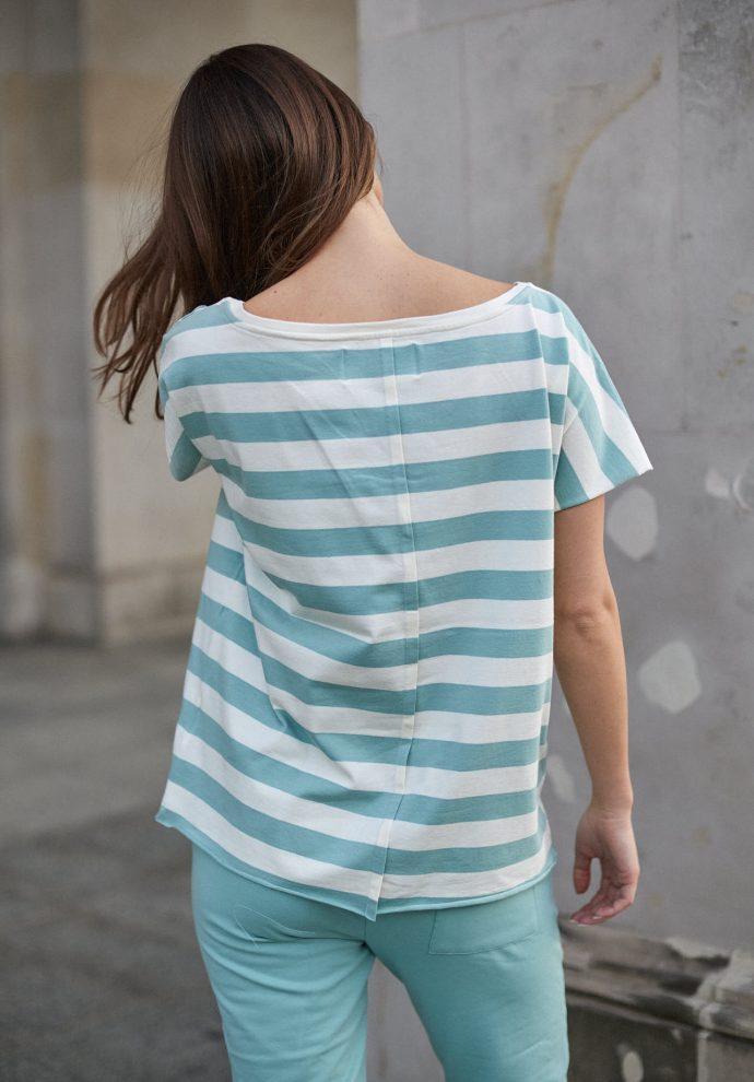 T-shirt Alice pasy ecru miętowe - zdjęcie 2