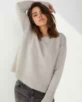 Sweter Sally z wełny merynosa i kaszmiru bezowy