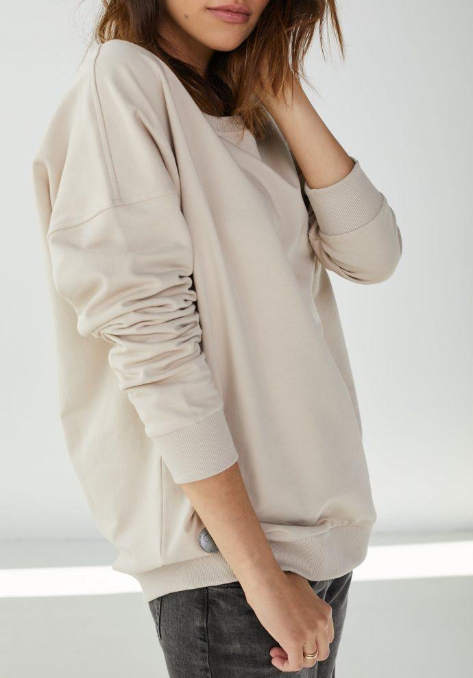 Bluza z dużym dekoltem Sienna piaskowa- zdjęcie 3