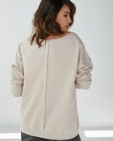 Bluza z dużym dekoltem Sienna piaskowa- zdjęcie 2