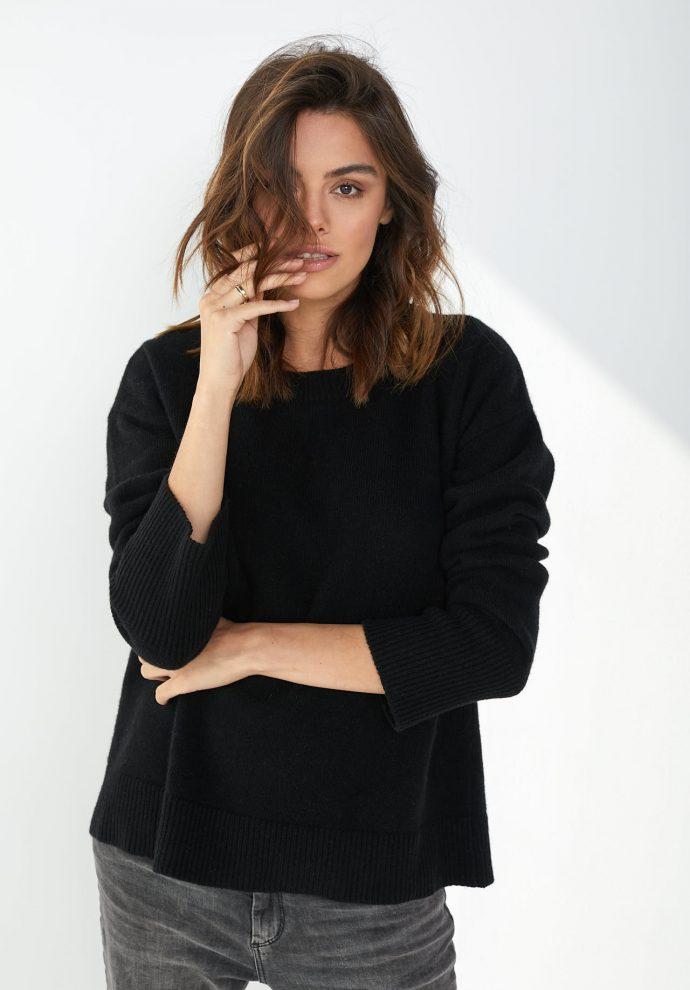 Sweter Sally z wełny merynosa i kaszmiru czarny
