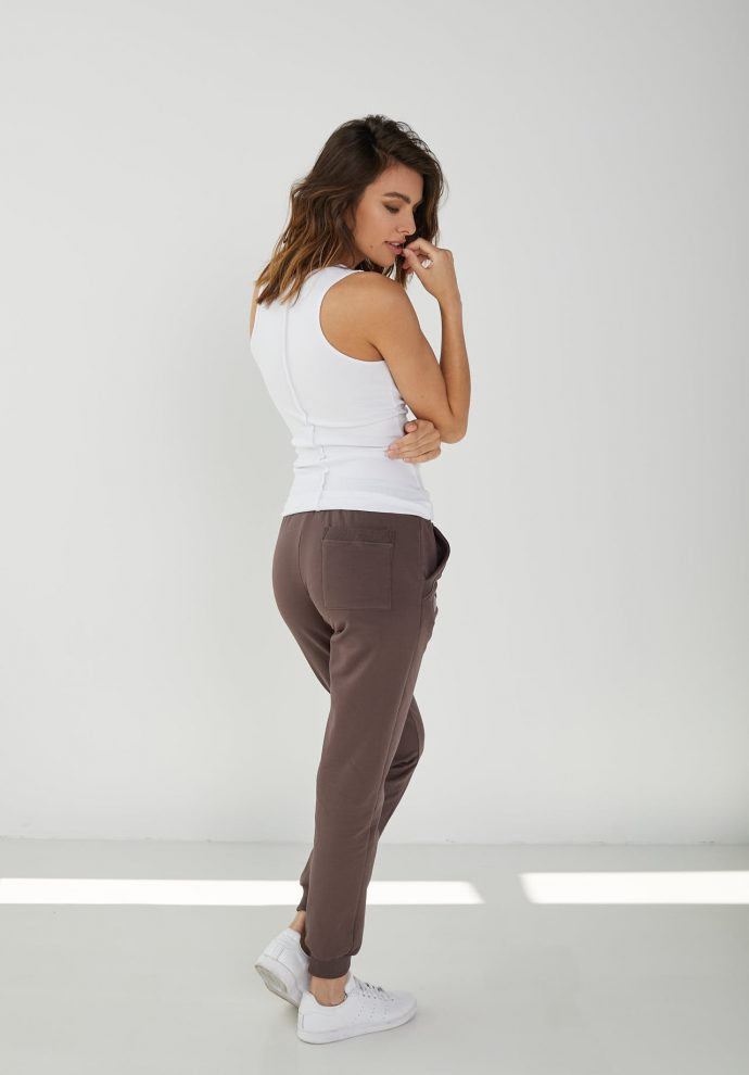 spodnie dresowe Joggers czekoladowe- zdjęcie 2