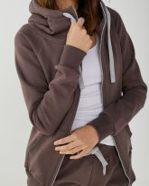 bluza z kapturem zapinana Eva czekoladowa- zdjęcie 3