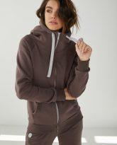 bluza z kapturem zapinana Eva czekoladowa- zdjęcie 2
