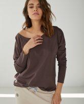 bluzka bawełniana z dużym dekoltem Emilly czekoladowa
