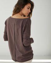 bluzka bawełniana z dużym dekoltem Emilly czekoladowa- zdjęcie 2
