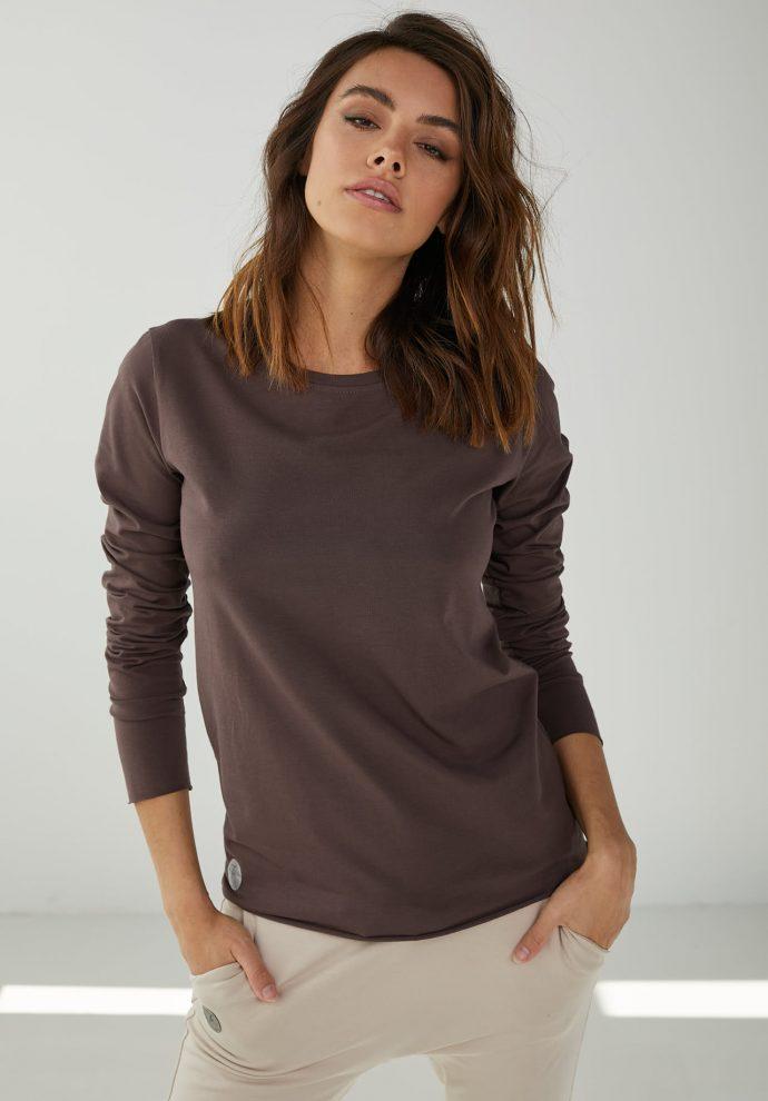 Bluzka bawełniana z długim rękawem Emma czekoladowa
