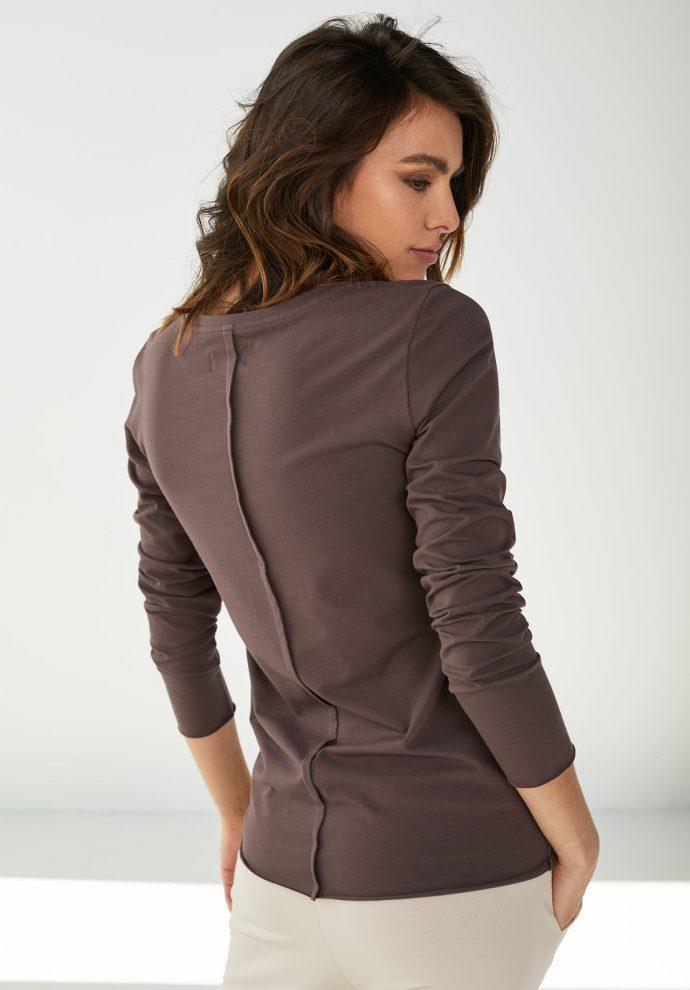 Bluzka bawełniana z długim rękawem Emma czekoladowa- zdjęcie 2