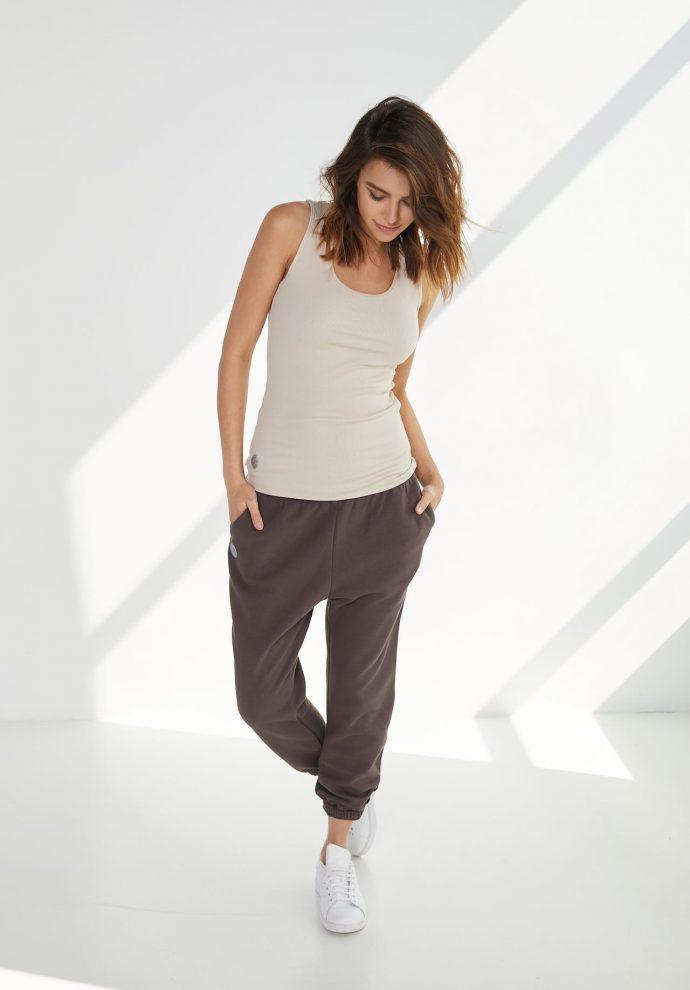 luźne spodnie dresowe lola czekoladowe