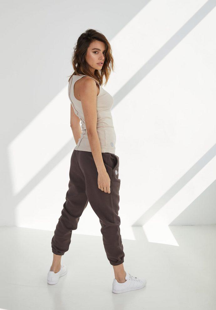 luźne spodnie dresowe lola czekoladowe- zdjęcie 2