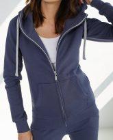 bluza z kapturem zapinana Eva niebieska- zdjęcie 4