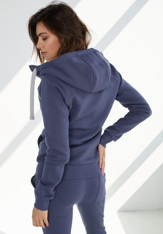 bluza z kapturem zapinana Eva niebieska- zdjęcie 5