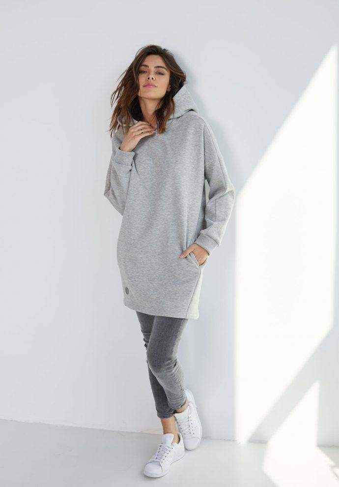 długa bluza z kapturem Niki szara- zdjęcie 2