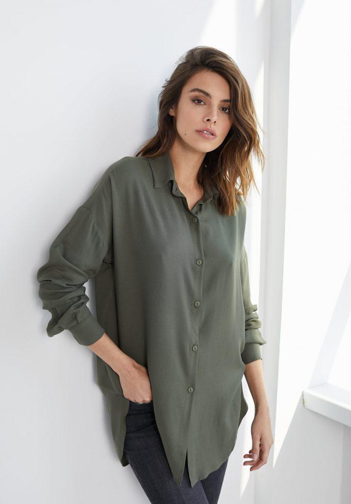 Koszula wiskozową Lisa oliwkowa- zdjęcie 2
