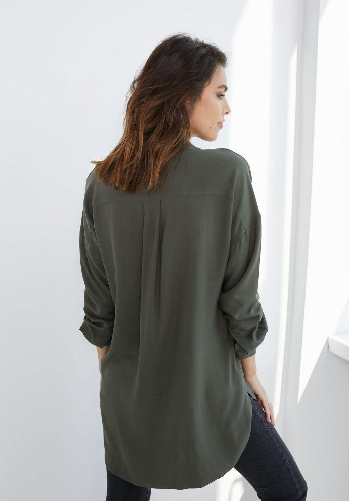 Koszula wiskozową Lisa oliwkowa- zdjęcie 3
