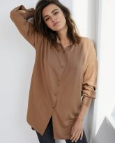 Koszula wiskozową Lisa kamelowa
