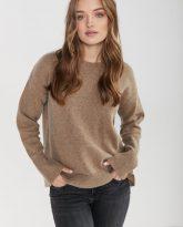 sweter Sally taupe z wełny merynosa i kaszmiru- zdjęcie 5
