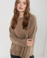 sweter Sally taupe z wełny merynosa i kaszmiru