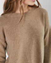 sweter Sally taupe z wełny merynosa i kaszmiru- zdjęcie 6