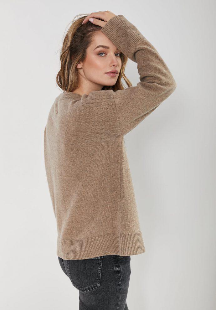 sweter Sally taupe z wełny merynosa i kaszmiru- zdjęcie 7