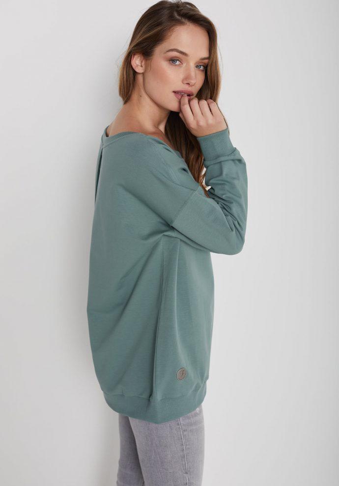 Bluza z dużym dekoltem Sienna zielona- zdjęcie 2