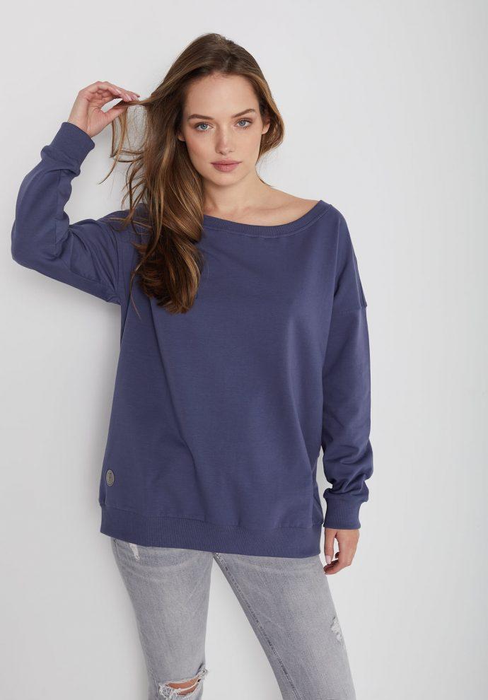 Bluza z dużym dekoltem Sienna niebieska