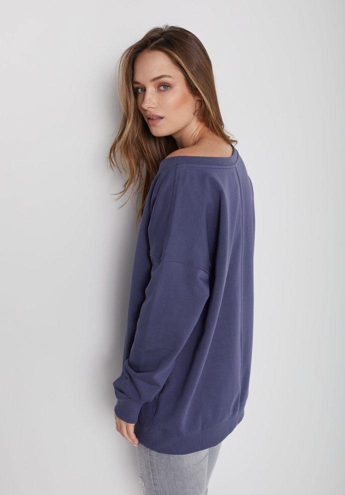 Bluza z dużym dekoltem Sienna niebieska- zdjęcie 2