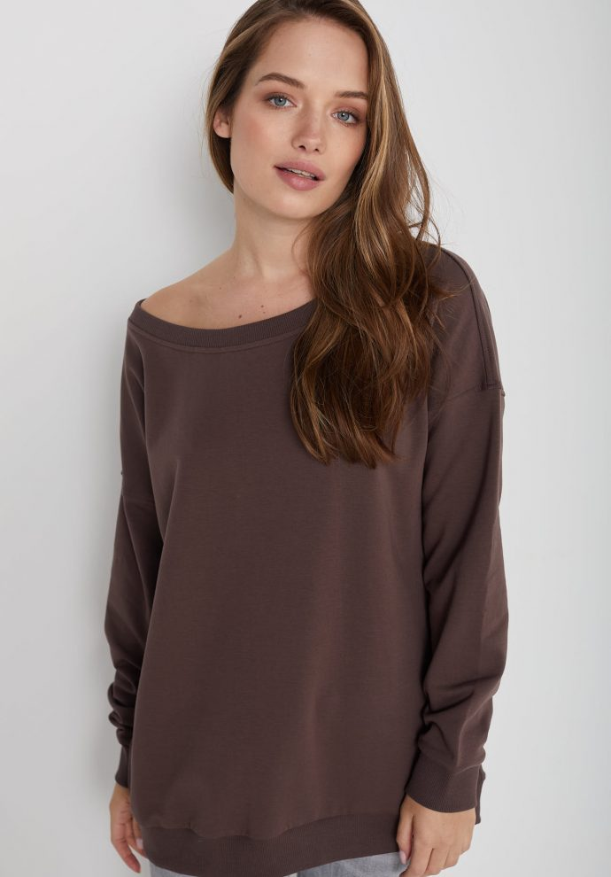 Bluza z dużym dekoltem Sienna czekoladowa