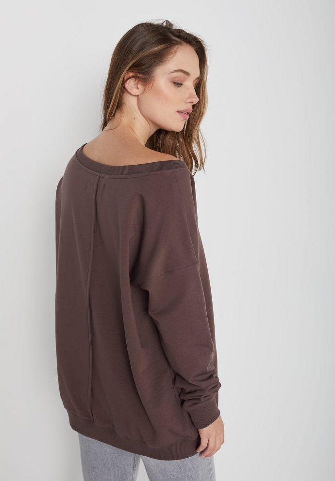 Bluza z dużym dekoltem Sienna czekoladowa- zdjęcie 2