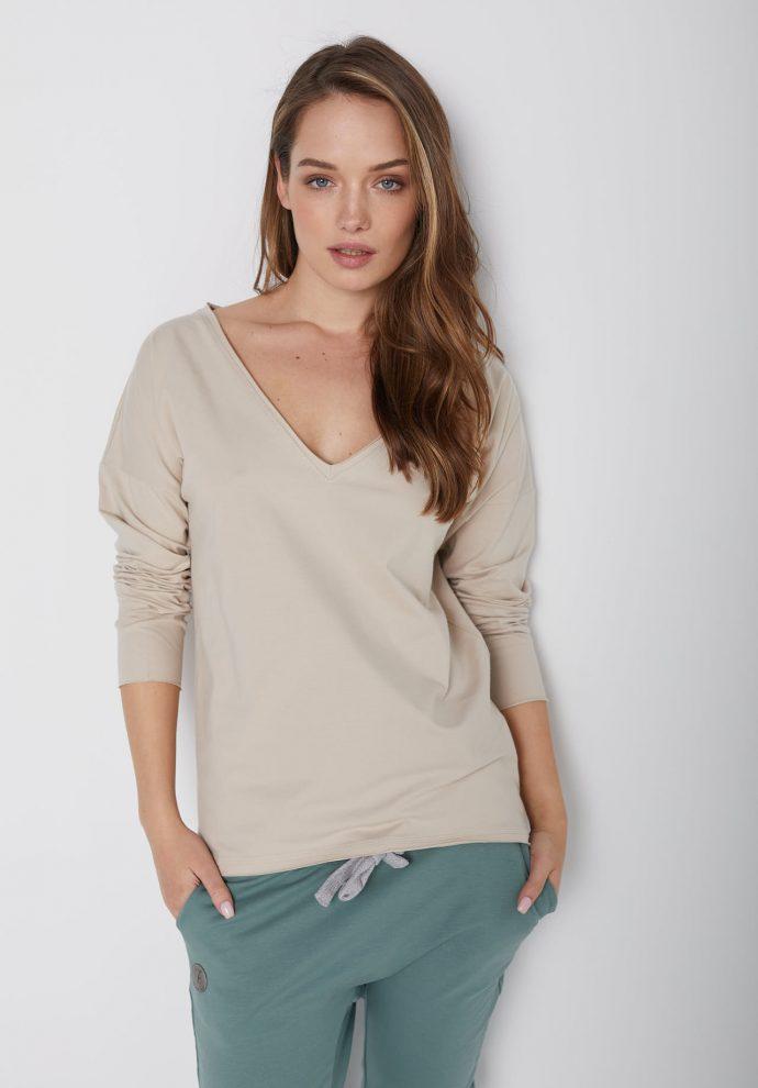 bawełniana bluzka z długim rękawem i dekoltem w serek Ella piaskowa