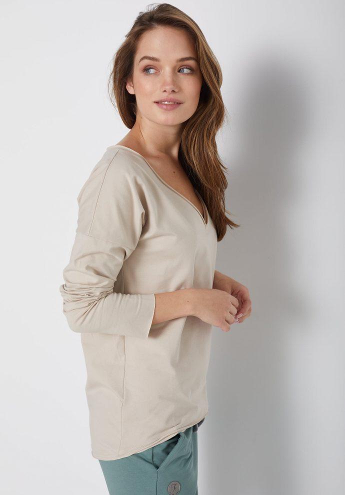 bawełniana bluzka z długim rękawem i dekoltem w serek Ella piaskowa - zdjęcie 2