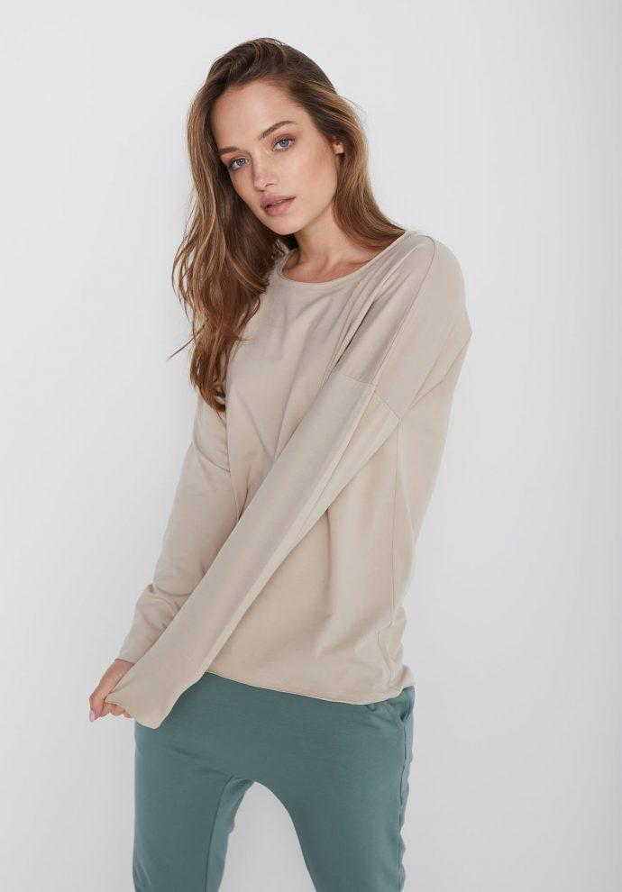 bawełniana bluzka z długim rękawem Lily piaskowa