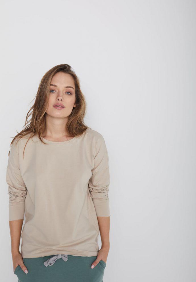 bawełniana bluzka z długim rękawem Lily piaskowa- zdjęcie 2