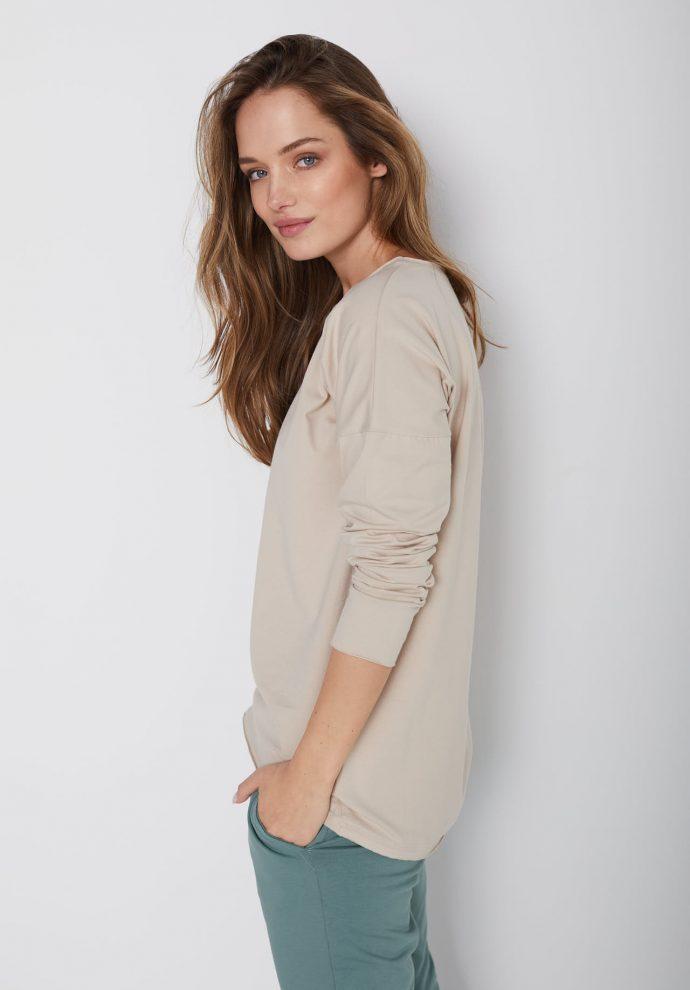 bawełniana bluzka z długim rękawem Lily piaskowa- zdjęcie 3