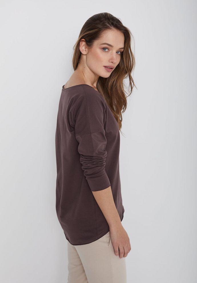 bawełniana bluzka z długim rękawem i dekoltem w serek Ella czekoladowa- zdjęcie 2