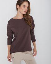 bawełniana bluzka z długim rękawem Lily czekoladowa