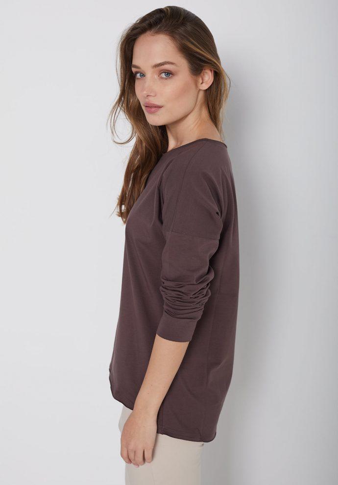 bawełniana bluzka z długim rękawem Lily czekoladowa- zdjęcie 2