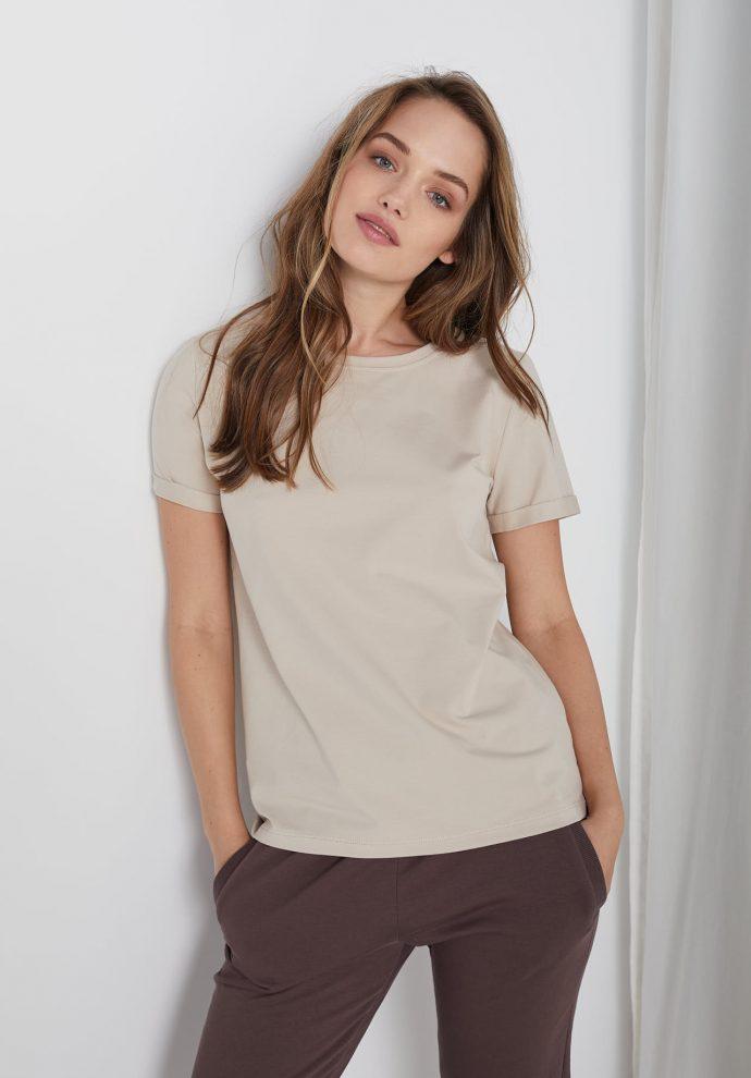 t-shirt z krótkim rękawem Tina piaskowy