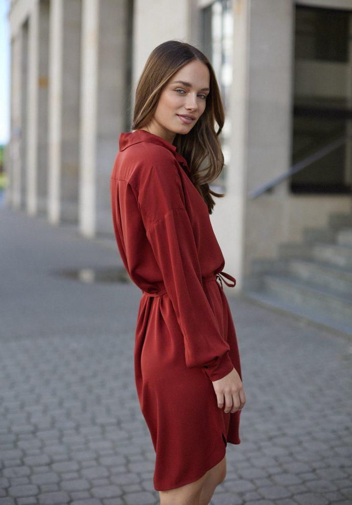 Sukienka na guziki Lisa miedziana- zdjęcie 2